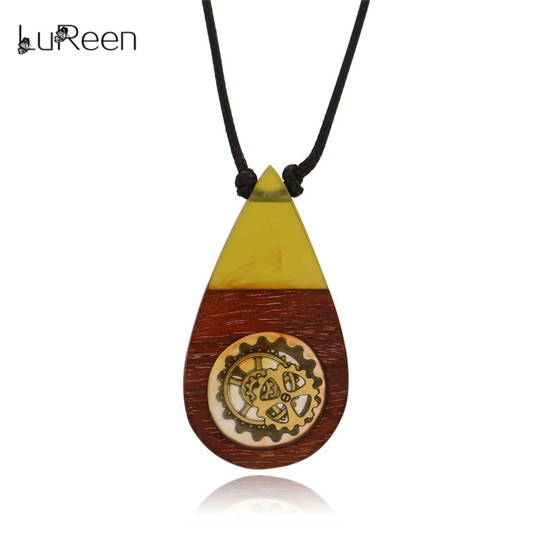 2c90537bacdcca LuReen Vintage Resin Wood Pendant Necklaces Handmade Gear Water Drop Wooden  Long Rope Necklace Women Men Jewelry Gfit LN0249