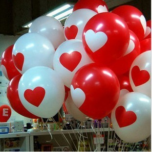 12 inch Thickened love heart Printed Latex Balloons for party | wedding | holiday decoration Red/White B03-30 free shipping