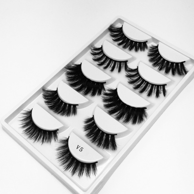 f0bc6b81136 NEW 5 Pairs Multi pack 3D Soft Mink Hair False Eyelashes Wispy Fluffy Long  Lashes Natural Eye Makeup Faux Eye Lashes
