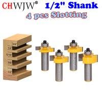 4 Bit Slotting Grooving Router Bit Set 1 2 Shank Chwjw 14481