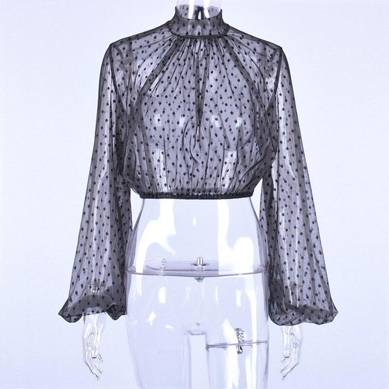 Forefair Lace Polka Dot Women Blouse Black (1)