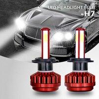 1 Pair COB LED Auto Headlamp DC 9 36V H4 HB2 9003 H7 H8 H9 H11