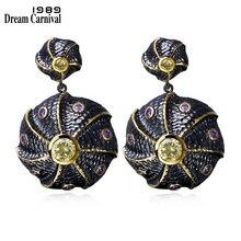 DC1989 Classic Disk Vintage Earrings Black Gold Plated Multi Cubic Zirconia Brass Lead free Drop earrings for women ZE52814