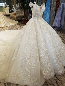 Image 4 - LS74232 weddingdress 2020 ivory and champagne off shoulder sweetheart ball gown lace up wedding dresses with long train