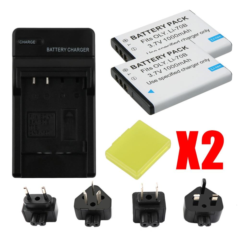 RP LI 70B Li 70B Li 70B Batteries and LCD USB Charger for Olympus VG110 VG120 VG 160 X 940 D 715 FE 4020 FE 4040 VG 140 VR 130 in Digital Batteries from Consumer Electronics