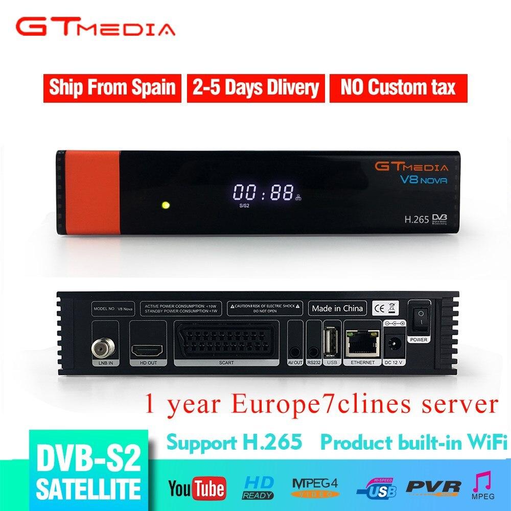 GTMEDIA Freesat V8 Nova DVB S2 nouvelle Version récepteur de télévision par Satellite H.265 HD 1080p WIFI intégré + gratuit 1 an Europe 7 lignes CCCAM