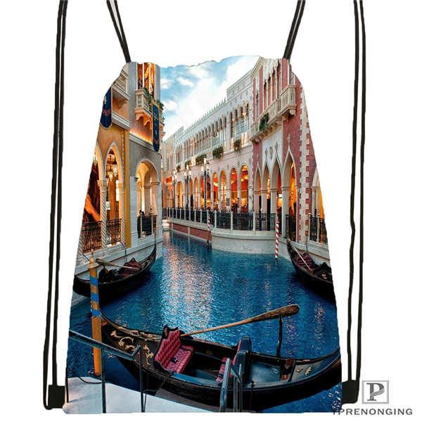 Custom sunrise venice morning Drawstring Backpack Bag Cute Daypack Kids Satchel Black Back 31x40cm 2018612 01