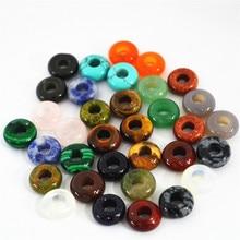 Hot Fashion Top Quality Natural Stone Flat Beads 10mm Mixed Round Shape Big Hole For Bracelet 100pcs Wholesale Free Shipping