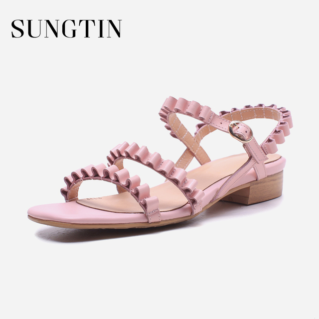 Sungtin Elegant Catwalk Pleated Flats Gladiator Sandals Women Genuine  Leather Handmade Club Party Shoes Lady Summer Large Size 56508e845236
