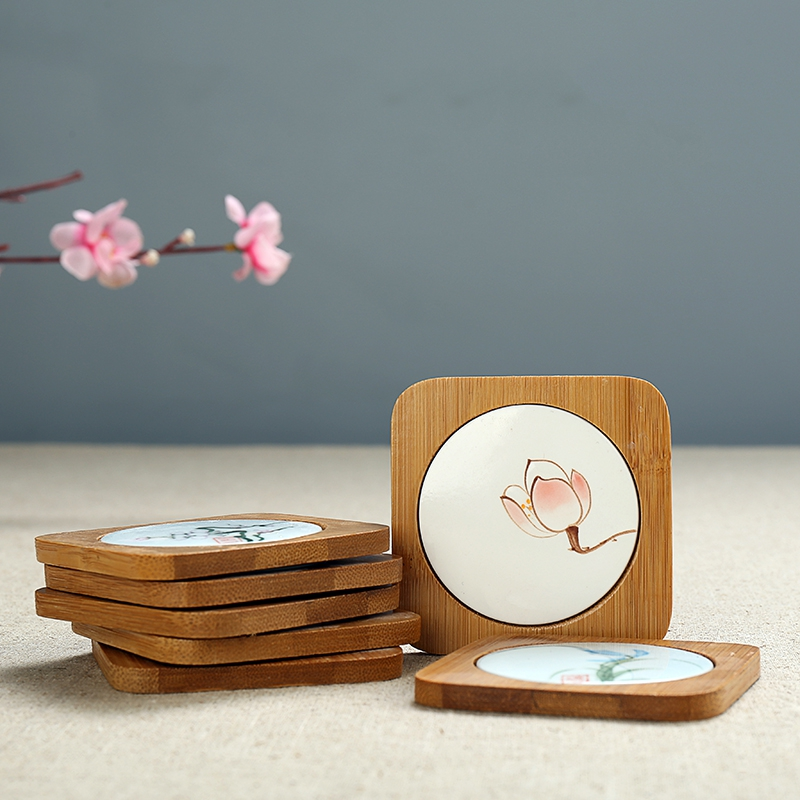 PINNY Traditional Chinese Bamboo Tea Cup Coasters Handpainted Heat Resistant Mat Vintage Tea Ceremony Accessories Tea Cup Mat in Mats Pads from Home Garden