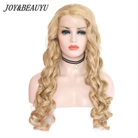 JOY&BEAUTY 24 26 Inch High Temperature Fiber Frontal Full Hair Wigs Long Deep Wave Platinum Blonde Burg Synthetic Lace Front Wig