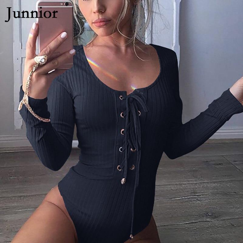 Plus Size Women Long Sleeve Bodysuit Crew Neck Romper Bandage Bodycon Playsuit Bandage Lace Up Fitness   Jumpsuit