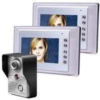 משלוח חינם 7 Inch וידאו דלת טלפון פעמון אינטרקום ערכת 1-מצלמה IR ראיית לילה מצלמת אבטחת מערכת אינטרקום