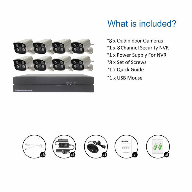 Home Security System 8CH POE NVR Kit HDMI Plug&Play POE NVR 8PCS 2MP Outdoor Remote View 1080P IP Cameras System Surveillance