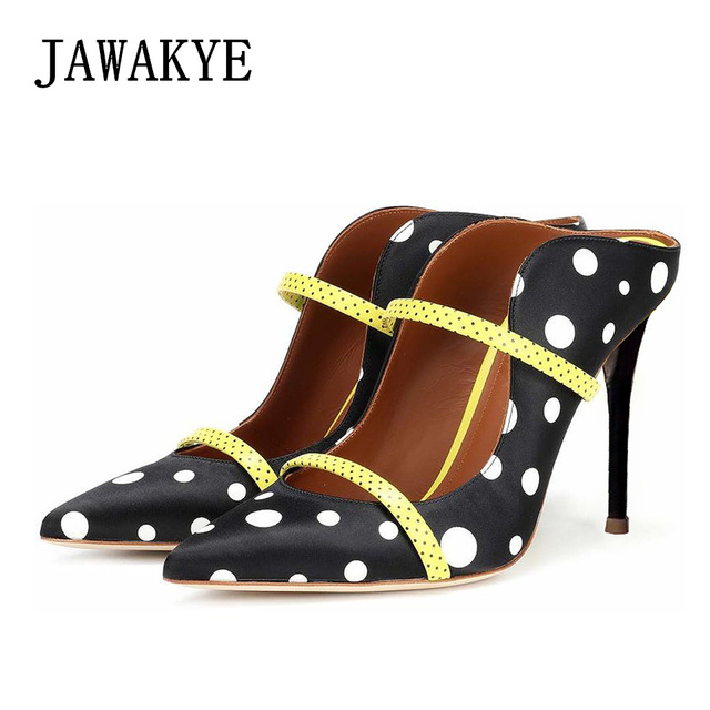 2d368e634b 2018 Luxury shoes women designer High Heels Shoes Ladies Point Toe polka  dot Pumps Slip On Mules Sandals Wedding Party Shoes