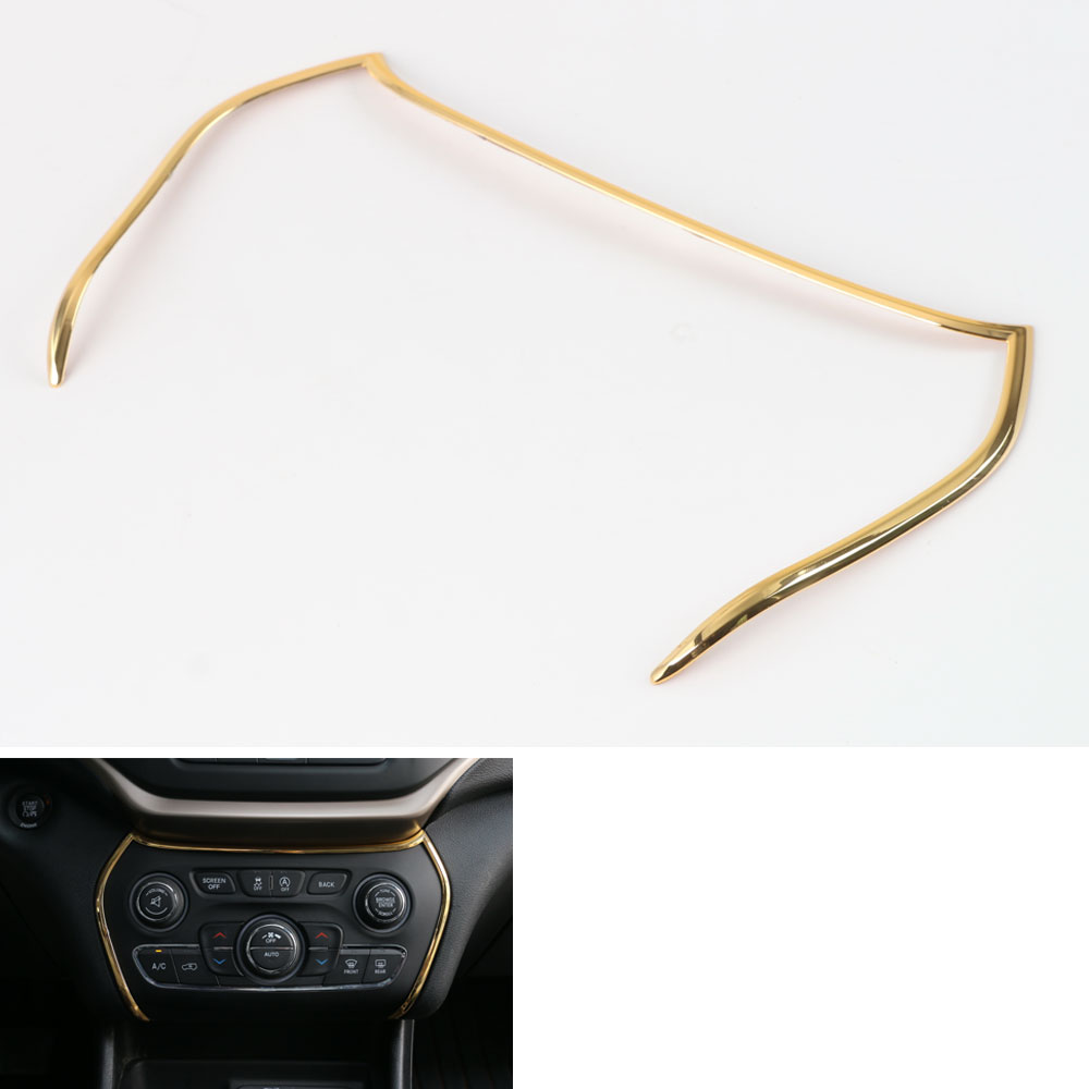 1x Interior Console Air Condition AC Vent Control Panel Molding Trim Frame Decoration Fit For Jeep Cherokee 2014-2016 car-cover