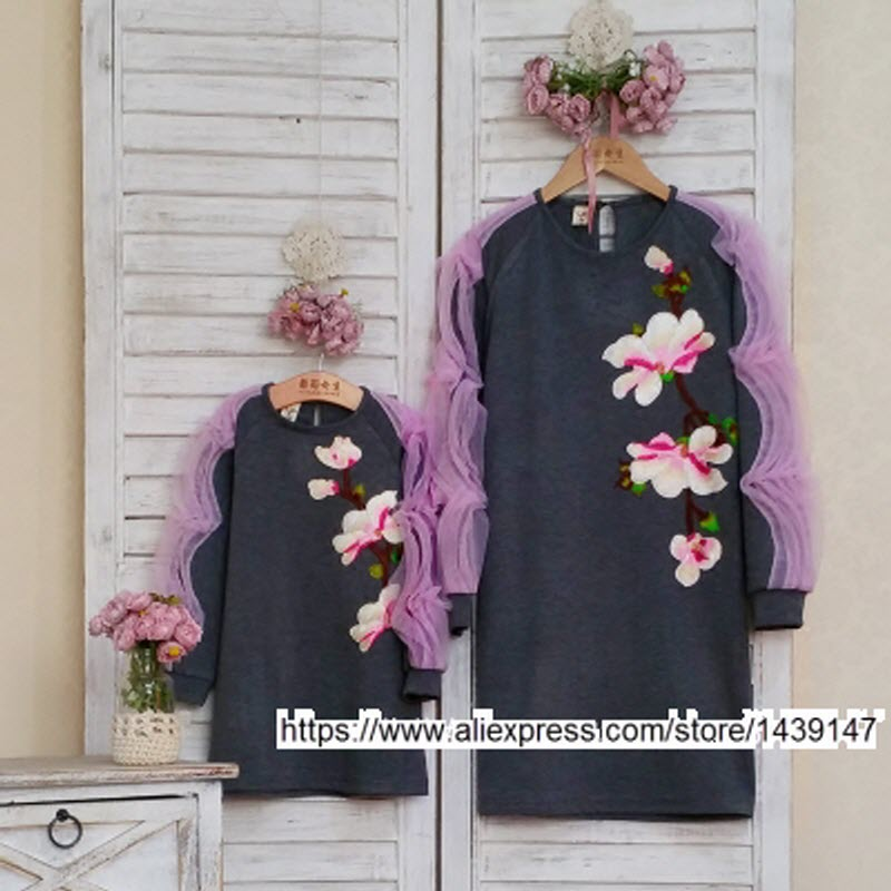 Children clothing Mother and Daughter Dresses Peach blossom , 2-10 years old Child baby Girl clothes , Women plus Large size 4XL children clothing mother and daughter dress black and white rabbit 2y 10y child baby baby girl infant lady women large size 4xl