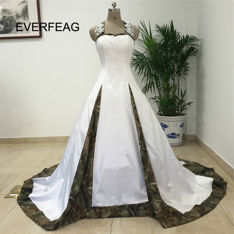 Elegant Camouflage Wedding Dress Floor Length Ball Gown