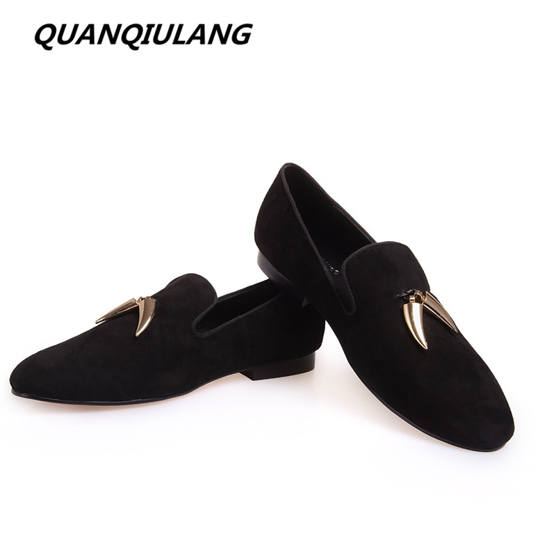 Brand Designer Gold Metal Signature Shark Tooth Handmade Genuine Leather Man Shoes Wedding and Party Loafers Men Flats Black 46 vertu signature s design white gold реплика москва