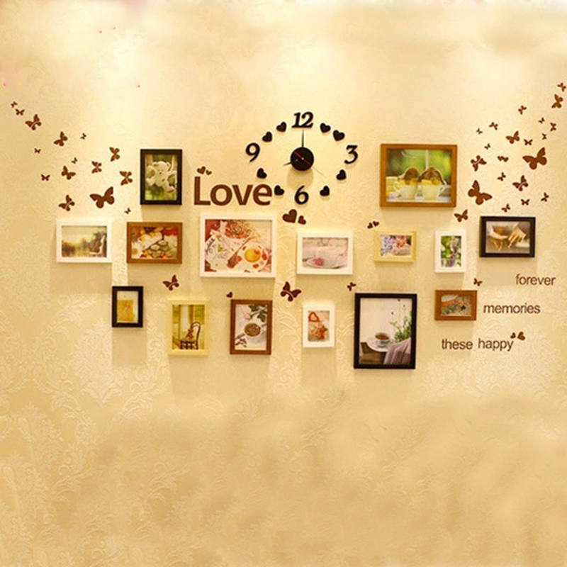 15 Pcs Home Decoration Wooden Photo Frame Combination Mounted Home ...