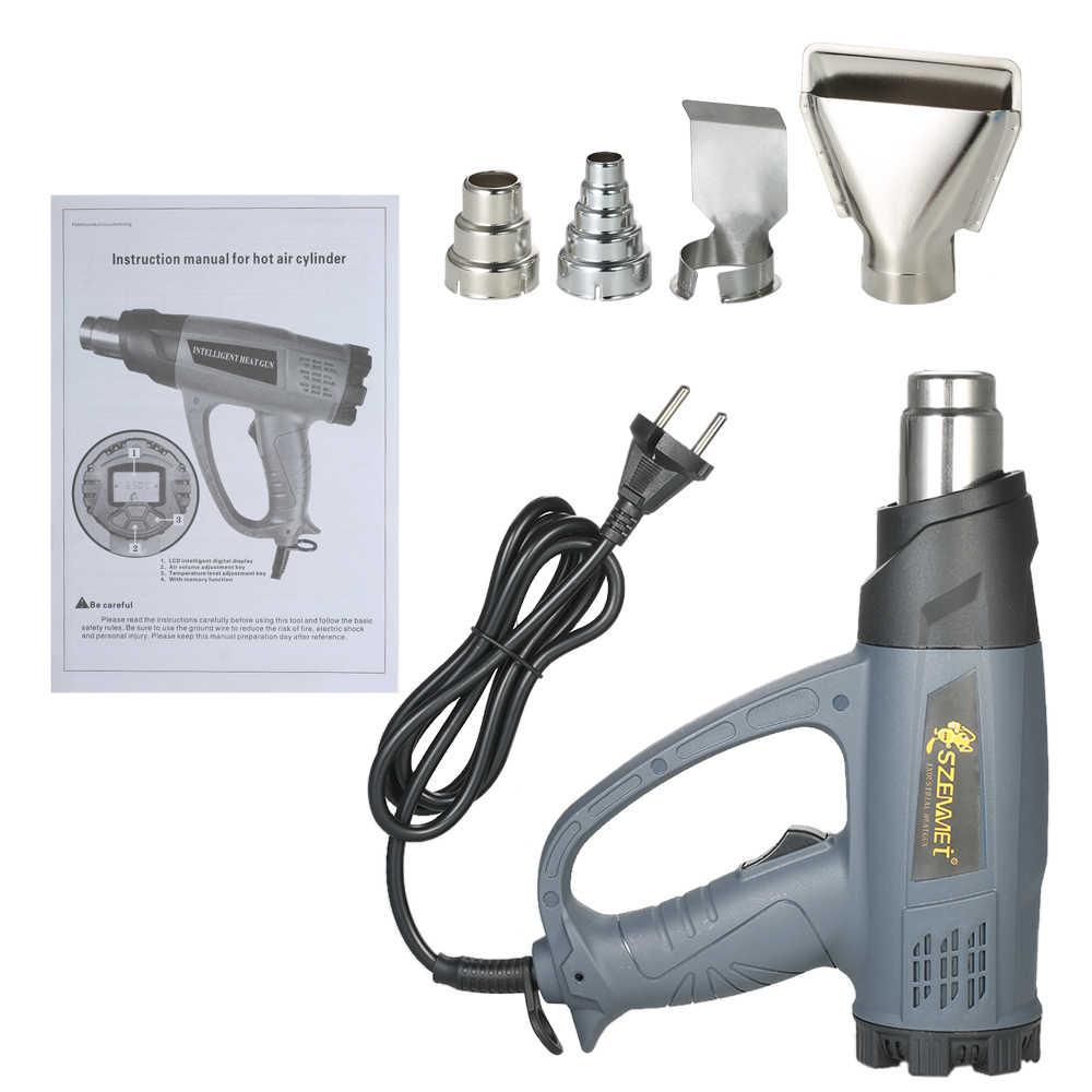 2000W przemysłowe suszarki do włosów na gorące wiatrówka szybkie ogrzewanie ciepła regulacja temperatury pistolet na gorące powietrze lutownicza dmuchawy + 4 dysze AC220V