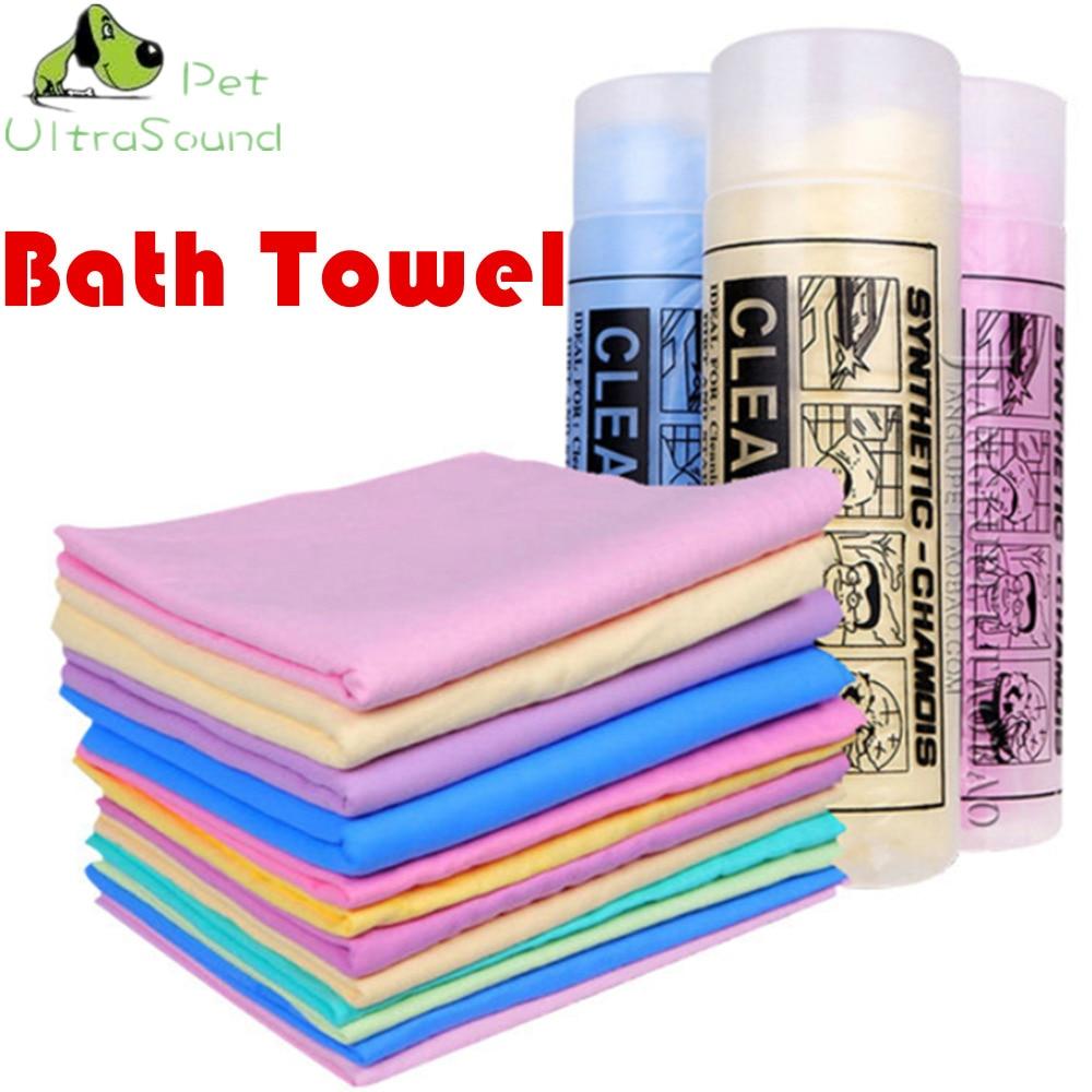 ULTRASOUND PET الكلب القط تنظيف الضروري تجفيف الحيوانات الأليفة منشفة فائقة الامتصاص منشفة حمام الكلب الذي أدلى به PVA Buckskin حجم 66 * 43 * 0.2 سم