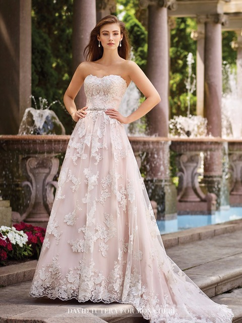 Beach Wedding Dress Long Sweetheart Blush Wedding Gowns 2017 Floral