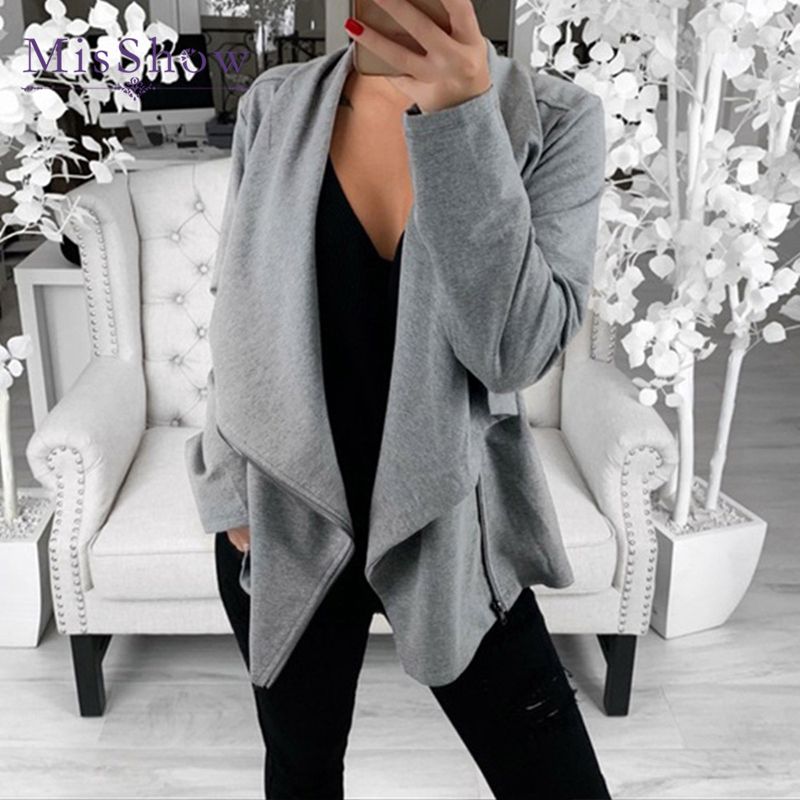 2019 Autumn Women Black Grey Cool Lady   Jackets   Casual Female Zipper Femme Outwear Coats Long Sleeve   Basic     Jackets