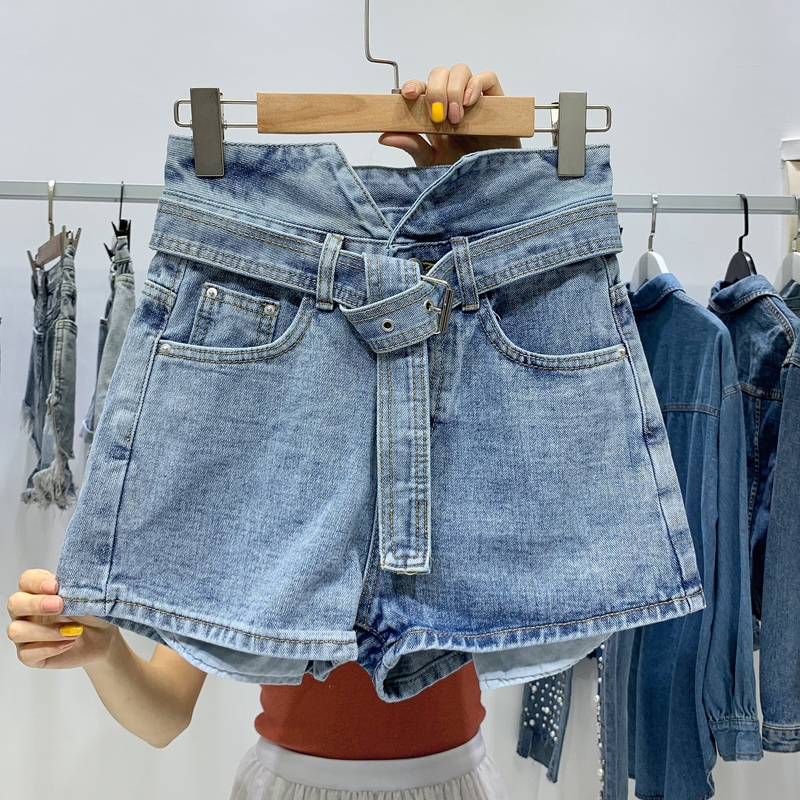 2019 New Jeans Denim High Waist Belt Light Blue Hot   Shorts   Mini Spring Summer   Short   Booty Women