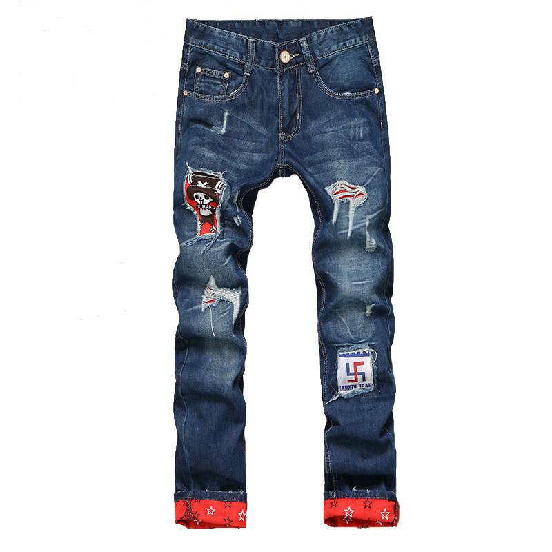 #1523 Mens distressed jeans Fashion Patchwork Straight jeans slim Mens designer jeans Skinny jeans homme Famous brand Jogger