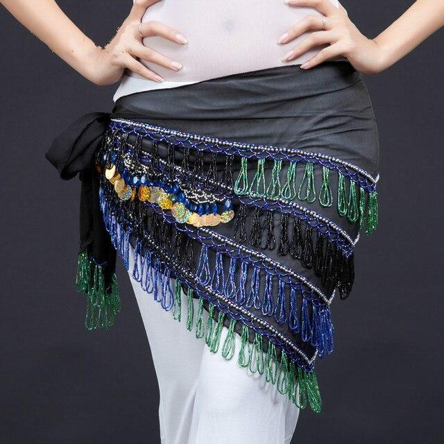 Nouveau Style égyptien danse du ventre ceinture gland mousseline de soie 4 couches hanche écharpe envelopper danse du ventre Costume accessoires taille chaîne 89