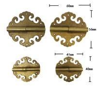 10Pcs Bulk Brass Flower Hinge Decor Cloud Hinges Wooden Gift Jewelry Box Hinge Fittings for Furniture Hardware+Screw 40mm;60mm