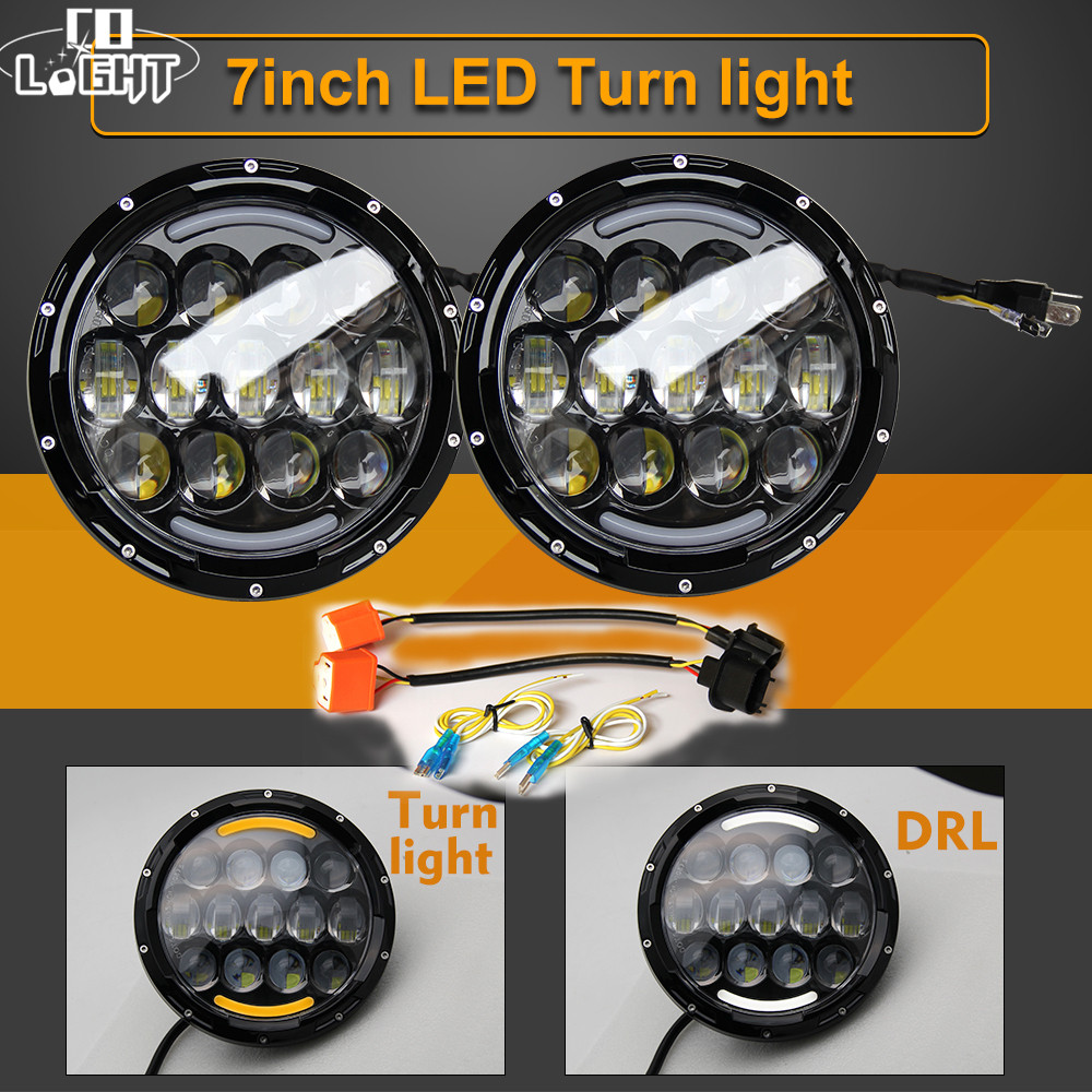 CO LIGHT 7 Inch 105W Round Halo LED Headlight DRL Hi/lo Turn Signal Light for Jeep Wrangler Harley Lada Niva 4x4 Hummer 12V 24V black chrome 2pcs 7inch round 105w led headlight drl turn signal for jeep wrangler hummer 4x4 4wd suv driving headlamp