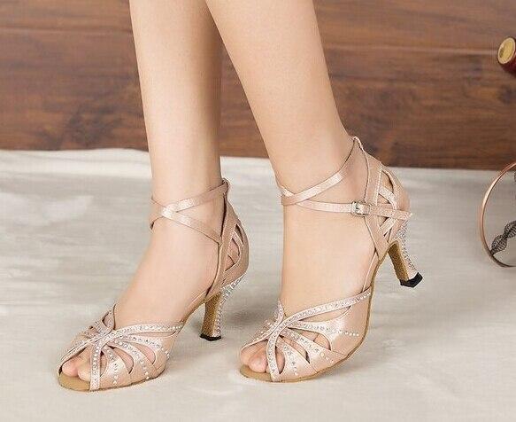 New Ladies Girls Flesh Satin Crystal Salsa Ballroom font b Dance b font Shoes Latin Mambo