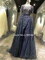 Real Bordado Beading Vestidos de Noite de Cristal de Luxo de Dubai 2017 Sheer Mangas Compridas vestidos de Noite Vestidos de Baile Robe De Soirée RE134