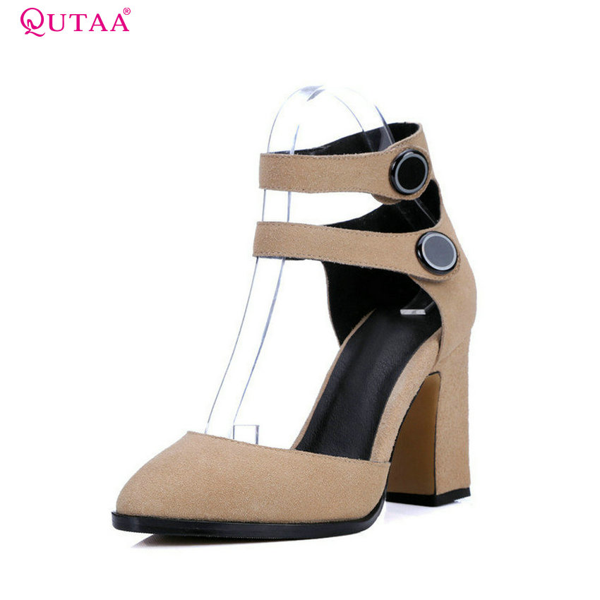 QUTAA 2017 Apricot Women Pumps Square High Heel Pointed Toe Platform Buckle Genuine Leather Ladies Wedding Shoes Size 34-39 nayiduyun women genuine leather wedge high heel pumps platform creepers round toe slip on casual shoes boots wedge sneakers