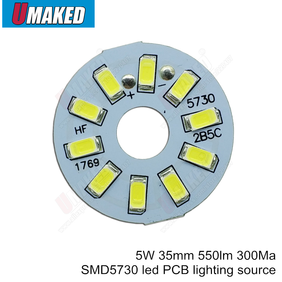 5W 35mm 550lm LED PCB With Smd5730 Chips Installed, Aluminum Plate Base For Bulb Light, Ceiling Light, LED Lamps