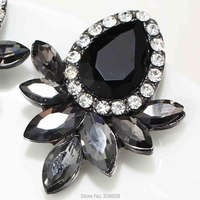 Women S Fashion Earrings Rhinestone Gray Pink Gl Black Resin Sweet Metal With Gems Ear Stud