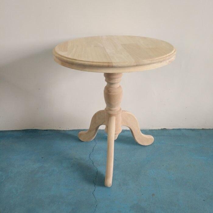 55 см X см 60 круглый чай стол скандинавский отель стол офисный кофейный столик углу гостиная резиновая дерево без краски