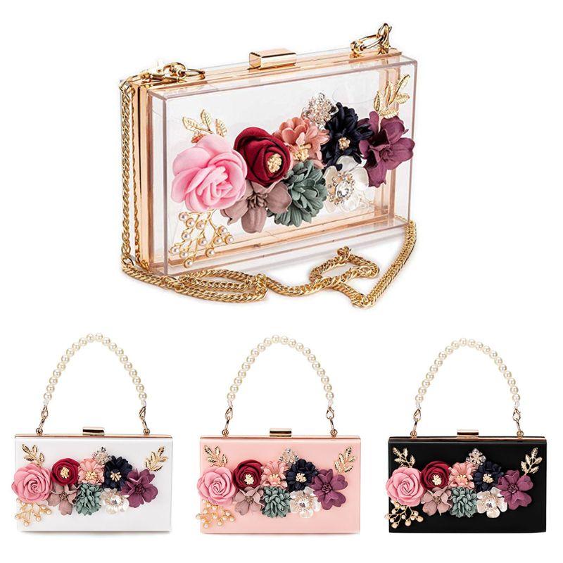 Hohe Qualität Frauen Acryl Blume Kupplungen Crossbody Floral Geldbörse Perlen Abend Taschen Für Hochzeit Prom Party Knitterfestigkeit