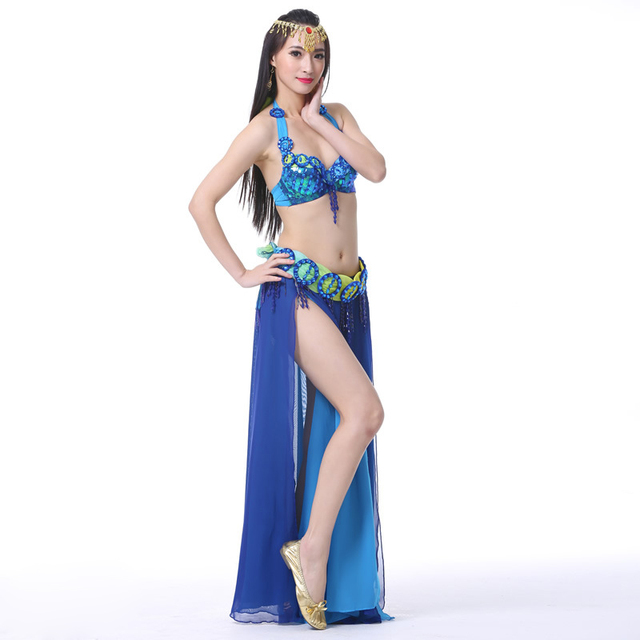 2018 Performance Belly Dancing Clothes Oriental Dance Outfits 3pcs Set Belly Dance Costume Set Beaded Bra Belt Skirt