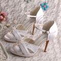 Новый Стиль 2015 Женщин Сандалии Платформы Белые Свадебные Туфли На Высоком Каблуке Бесплатный Dropshipping