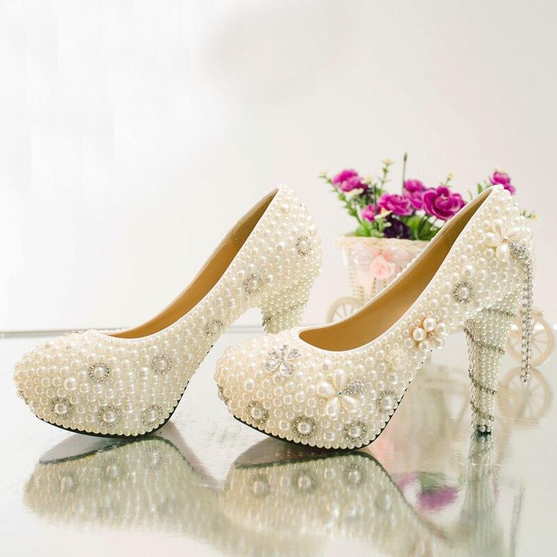 Artisanat ivoire haut talon plates-formes de fête de bal chaussures d'été strass chaussures de mariage mariée perle cristal robe chaussures - 2