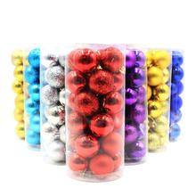 24Pcs/Lot Colorful Christmas Tree Ball Bauble Hanging Xmas Plastic Hanging Baubles Christmas Tree Ornaments 8Cm&6Cm 3