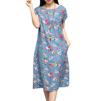 New Arrival 2016 Summer Dress Women O Neck Short Sleeve Flower Birds Print Casual Loose Pockets