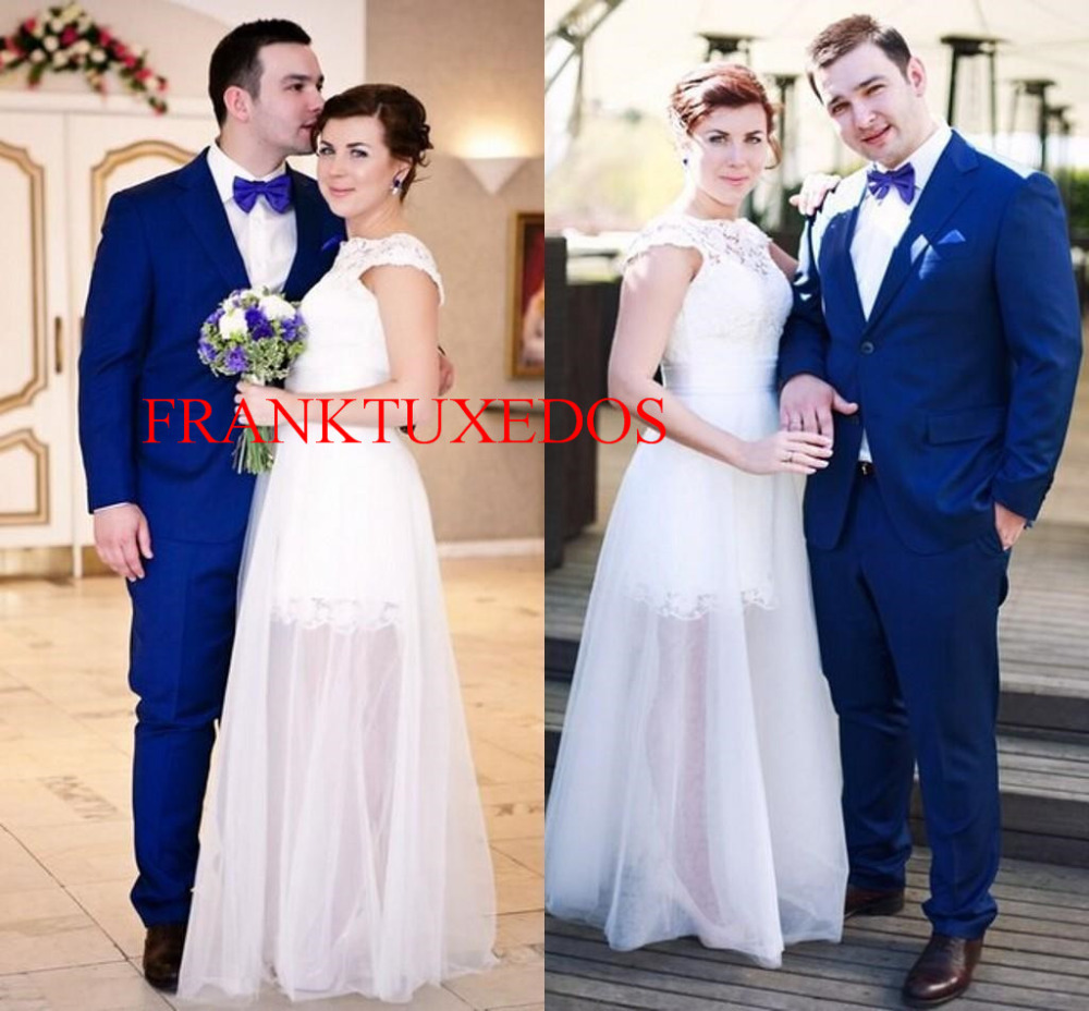 CustomizeMade Groom Tuxedos TwoButton Royal blue Best Man Groomsmen ...