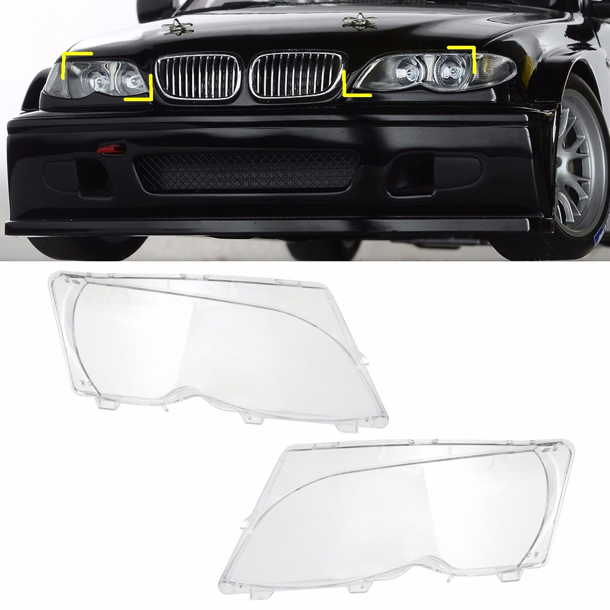 1 Pair Left Right Headlight Headlamp Clear Lenses Lens Clear Cover Coupe Convertible For BMW E46