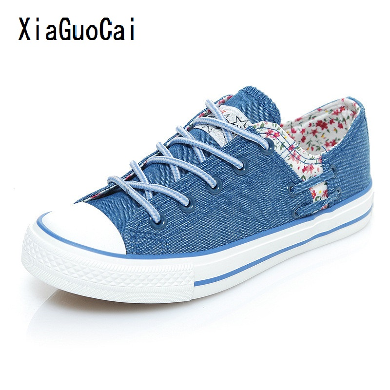 XiaGuoCai Women canvas shoes Vulcanized flat denim casual shoes high quality Shallow Floral Espadrilles Small fresh