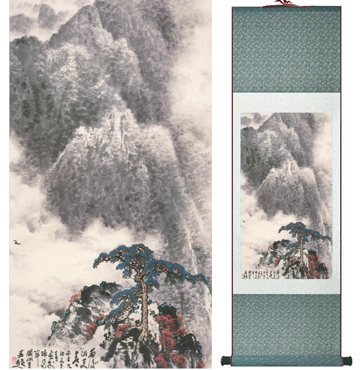 landscape painting Home Office Decoration Chinese scroll painting mountain and River paintingPrinted painting042412