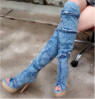 fashionable attractive light blue denim shoes woman with sexy modern patch tassels design peep toe sky high long platform boots